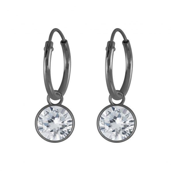 Wholesale 6mm Round Cubic Zirconia Silver Charm Hoop Earrings