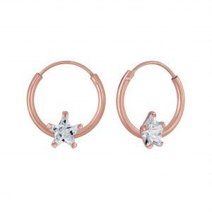 Wholesale 4mm Star Cubic Zirconia Silver Hoop Earrings