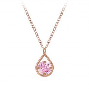 Wholesale Silver Tear Drop Cubic Zirconia Necklace