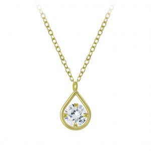 Wholesale Silver Tear Drop Cubic Zirconia Necklace