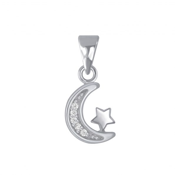 Wholesale Silver Moon and Star Cubic Zirconia Pendant