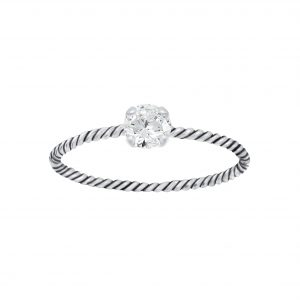 Wholesale 4mm Round Cubic Zirconia Silver Twisted Band Solitaire Ring