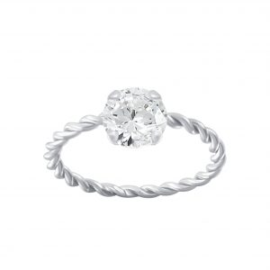 Wholesale 6mm Round Cubic Zirconia Silver Twisted Band Solitaire Ring