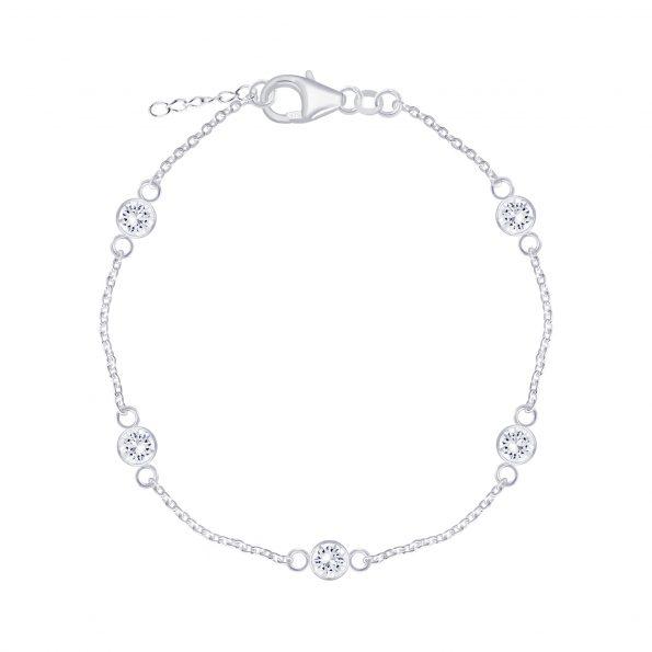 Wholesale Silver Round Cubic Zirconia Bracelet