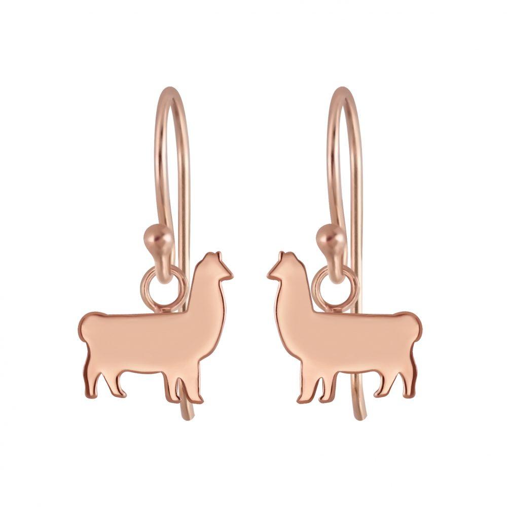 Wholesale Silver  Llama Charm Hoop Earrings