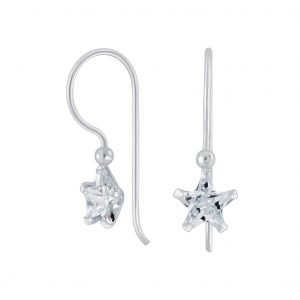 Wholesale 6mm Star Cubic Zirconia Silver Earrings