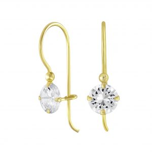 Wholesale 6mm Round Cubic Zirconia Silver Earring