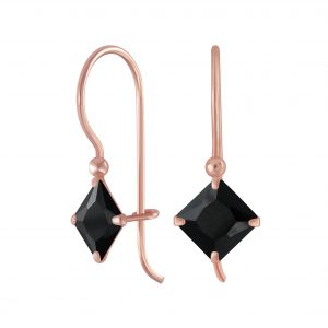 Wholesale 6mm Square Cubic Zirconia Silver Earrings