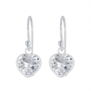 Wholesale 7mm Heart Cubic Zirconia Silver Earrings