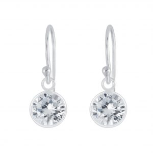Wholesale 7mm Round Cubic Zirconia Silver Earrings