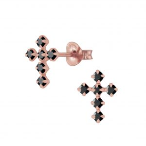 Wholesale Silver Cross Crystal Stud Earrings