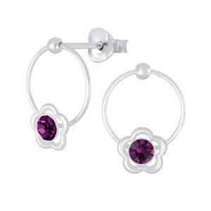 Wholesale Silver Flower Wire Crystal Stud Earrings