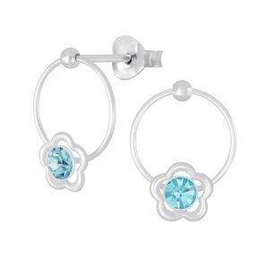 Wholesale Silver Flower Wire Crystal Stud Earrings