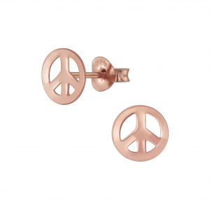 Wholesale Silver Peace Symbol Stud Earrings