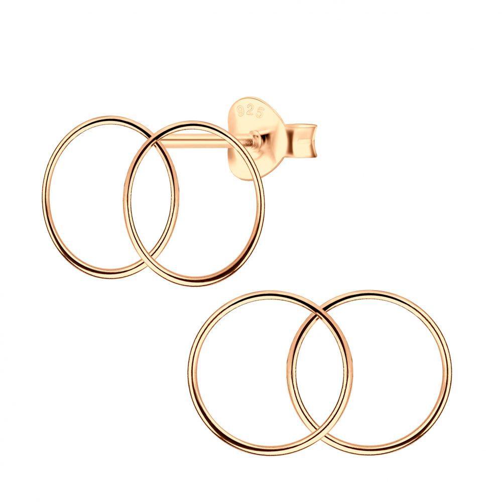 Wholesale Silver Double Circle Stud Earrings