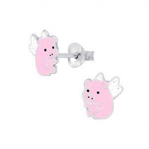 Wholesale Silver Flying Pig Stud Earrings