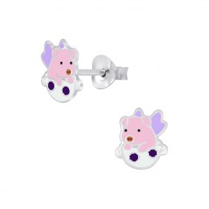 Wholesale Silver Flying Pig Stud Earrings
