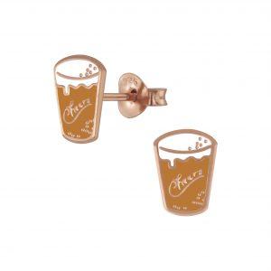 Wholesale Silver Pint of Beer Stud Earrings