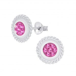 Wholesale Silver Round Crystal Stud Earrings