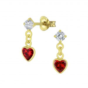 Wholesale Silver Heart Cubic Zirconia Drop Stud Earrings
