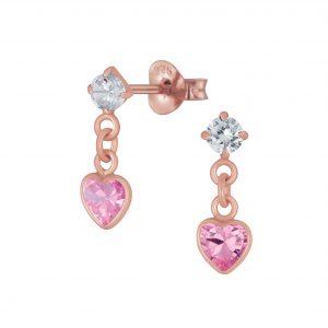 Wholesale Silver Heart Cubic Zirconia Drop Stud Earrings