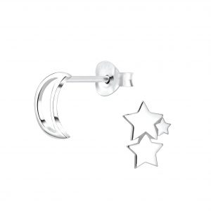 Wholesale Silver Moon and Star Stud Earrings