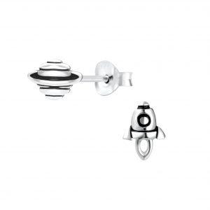 Wholesale Silver Rocket and Saturn Stud Earrings