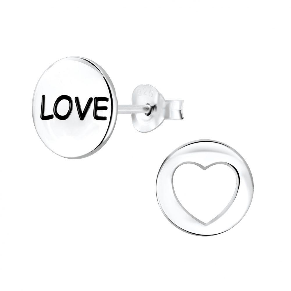 Wholesale Silver Love Stud Earrings