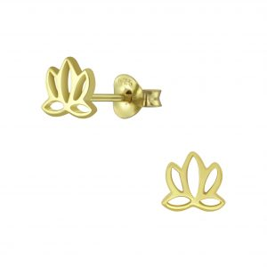 Wholesale Silver Lotus Flower Stud Earrings
