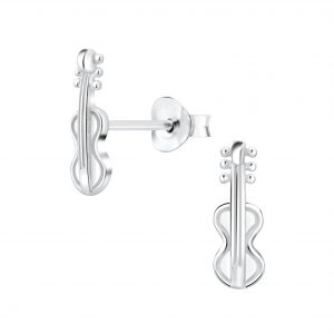 Wholesale Silver Guitar Stud Earrings