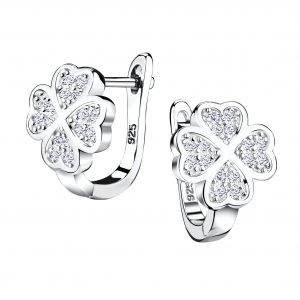 Wholesale Silver Lucky Clover Huggie Earrings