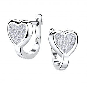 Wholesale Silver Heart Huggie Earrings