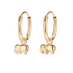 Wholesale Silver Elephant Charm Hoop Earrings