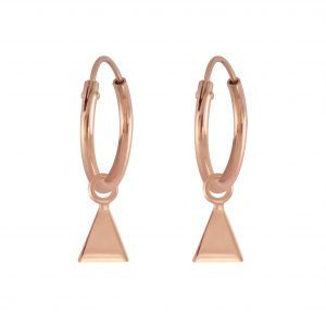 Wholesale Silver Triangle Charm Hoop Earrings