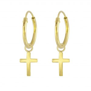Wholesale Silver Cross Charm Hoop Earrings