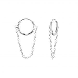 Wholesale Silver Chain Drop Hoop Earrings
