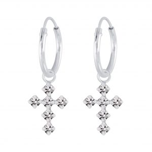 Wholesale Silver Cross Crystal Charm Hoop Earrings
