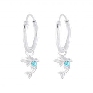 Wholesale Silver Dolphin Charm Hoop Earrings