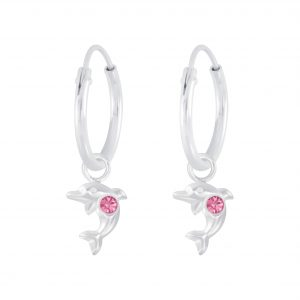 Wholesale Silver Dolphin Charm Hoop Earrings