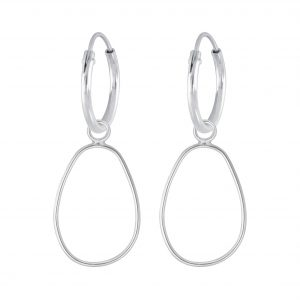 Wholesale Siver Wire Charm Hoop Earrings