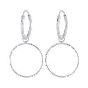 Wholesale Silver Circle Charm Hoop Earrings