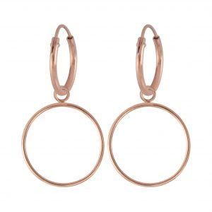 Wholesale Silver Circle Charm Hoop Earrings