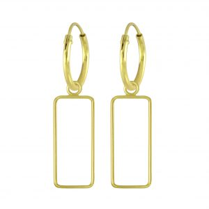 Wholesale Silver Rectangle Charm Hoop Earrings