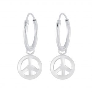 Wholesale Silver Peace Symbol Charm Hoop Earrings