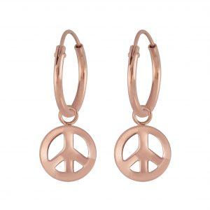 Wholesale Silver Peace Symbol Charm Hoop Earrings