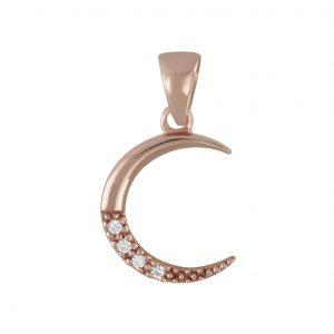 Wholesale Silver Cubic Zirconia Moon Pendant