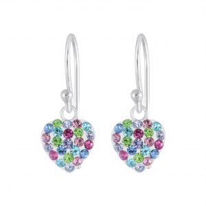 Wholesale Silver Crystal Heart Earrings