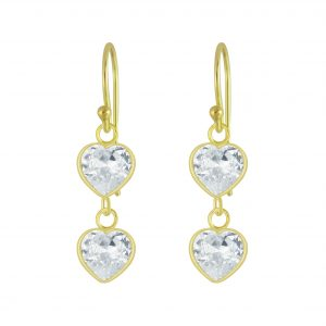 Wholesale Silver Heart Cubic Zirconia Dangle Earrings