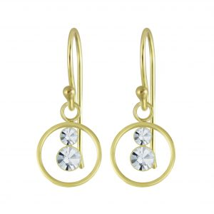 Wholesale Silver Circle Crystal Earrings