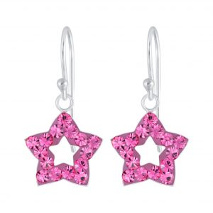 Wholesale Silver Star Crystal Earrings